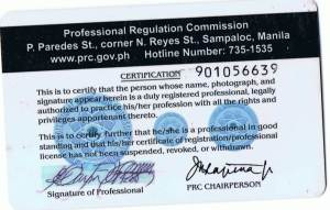 Engr. Marin's PRC Card (Back)