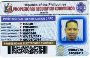 Engr. Marin's PRC Card (Front)