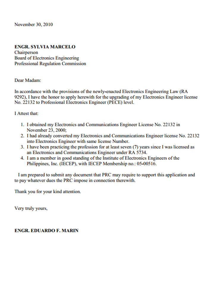 application letter for electronics technician