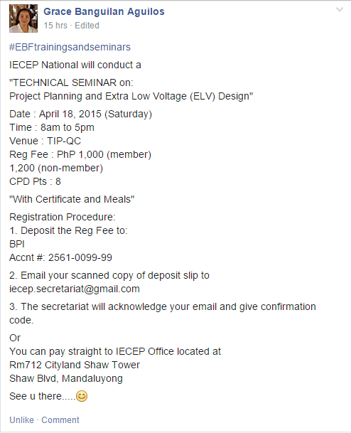 IECEP Technical Seminar (April 18, 2015)